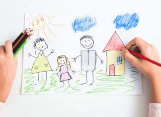 kids drawing of family and home