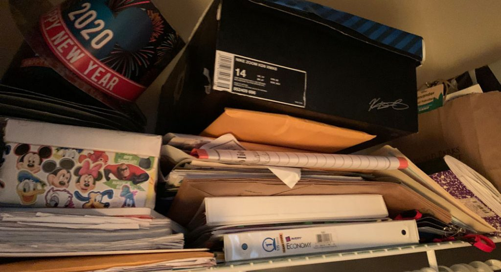 The pile of paper in the closet