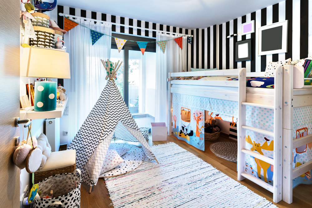 An organized and tidy child's bedroom with functional storage space.