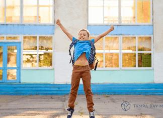 Boy celebrating last day of school